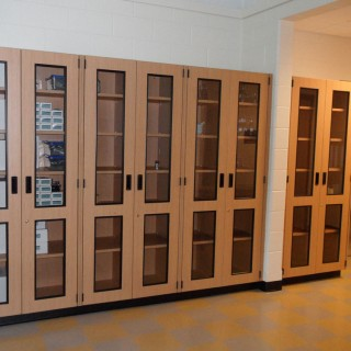 Glass display and storage casework