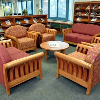 Jasper Chair library seating and Tesco library magazine shelving