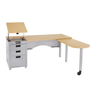 Nate Teacher desk with movable lectern and retractable return